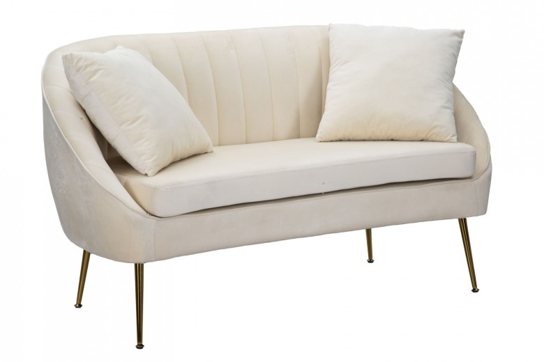 Canapea fixa tapitata cu stofa, 2 locuri Venice Crem, l136xA66xH78 cm