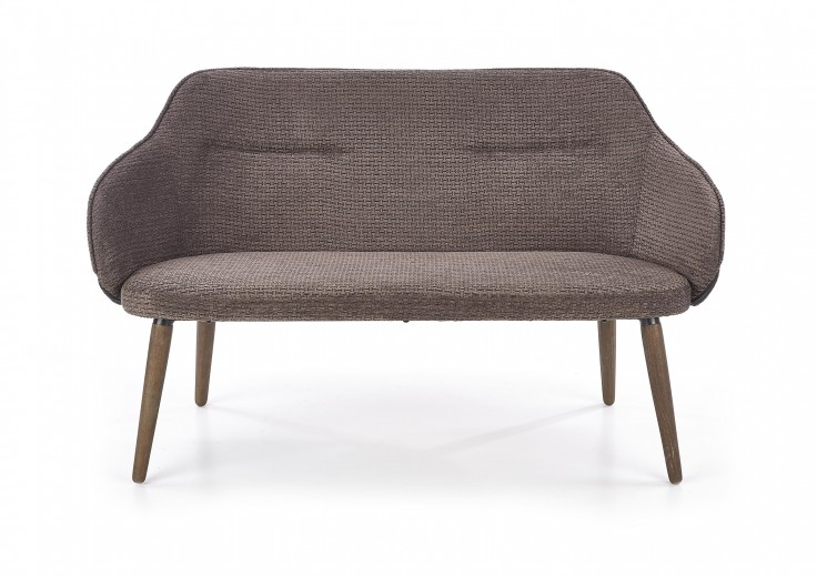 Canapea fixa tapitata cu stofa, 2 locuri Verano XL Dark Grey / Walnut, l130xA65xH77 cm