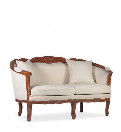 Canapea fixa tapitata cu stofa, 2 locuri Vintage Louis Crem, l160xA75xH90 cm