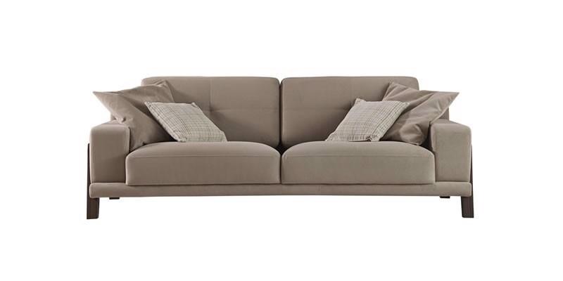 Canapea fixa tapitata cu stofa, 3 locuri Carlino Grej, l225xA90xH75 cm