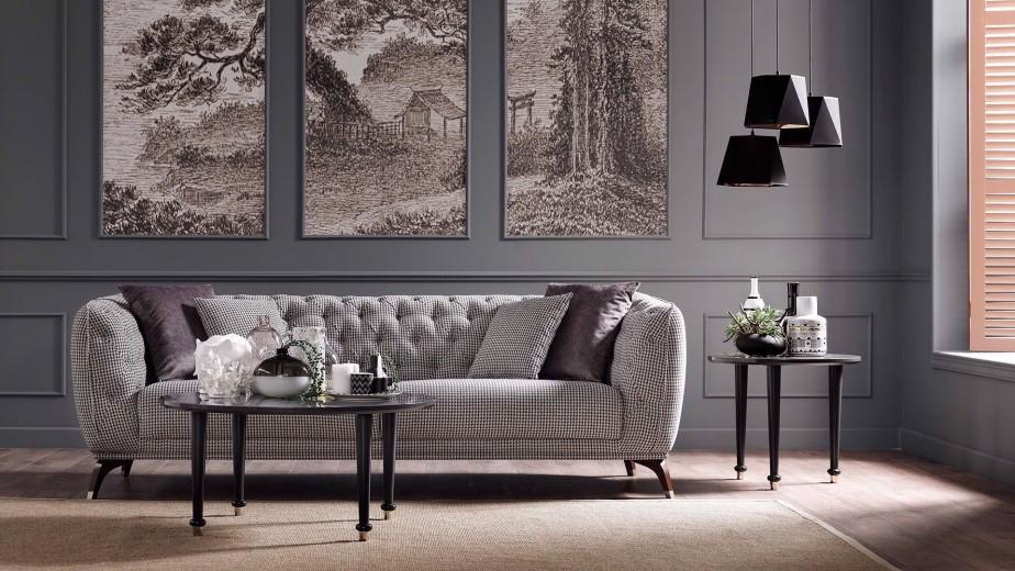 Canapea fixa tapitata cu stofa, 3 locuri Olivia Multicolor, l235xA100xH78 cm
