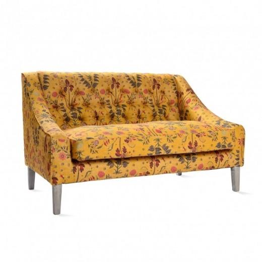 Canapea fixa tapitata cu stofa, cu picioare din lemn Gipsy Ochre Yellow / Antique Grey, l126xA83xH76 cm