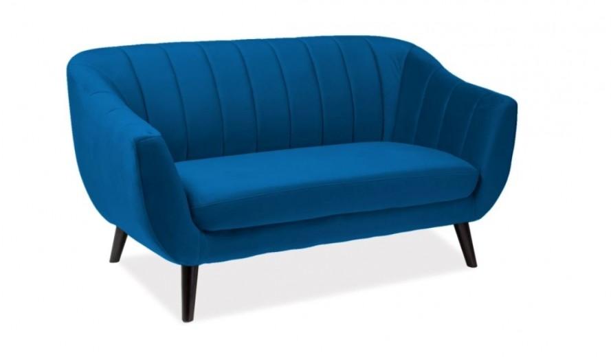 Canapea fixa tapitata cu stofa, Elite 2 Velvet Blue, l156xA57xH83 cm
