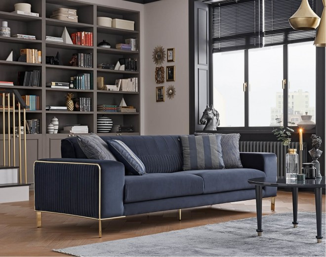 Canapea tapitata cu stofa, 3 locuri, cu functie sleep pentru 1 persoana Adel Bleumarin, l230xA97xH80 cm