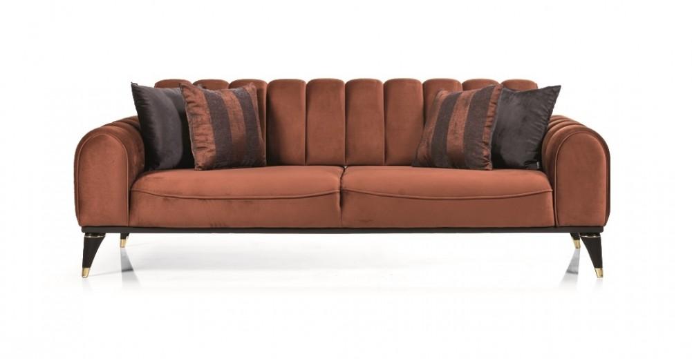 Canapea tapitata cu stofa, 3 locuri, cu functie sleep pentru 1 persoana Linda Caramiziu K2, l228xA100xH83 cm
