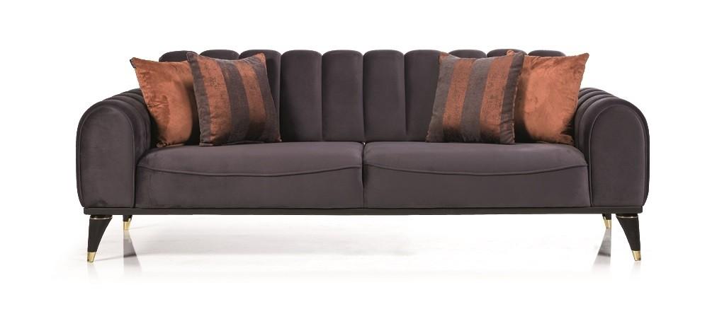 Canapea tapitata cu stofa, 3 locuri, cu functie sleep pentru 1 persoana Linda Gri inchis K2, l228xA100xH83 cm
