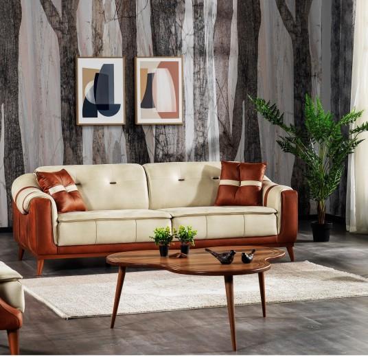 Canapea tapitata cu stofa, 3 locuri, cu functie sleep pentru 1 persoana Urla Crem / Maro K1, l227xA100xH80 cm