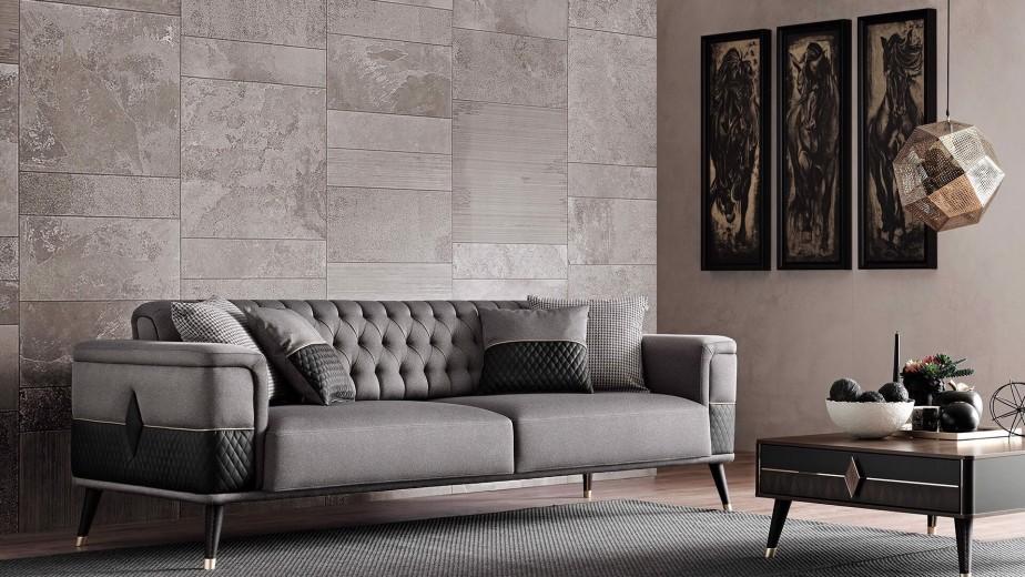 Canapea tapitata cu stofa si piele ecologica, 3 locuri, cu functie sleep pentru 1 persoana Diamond Gri inchis / Negru, l227xA92xH78 cm