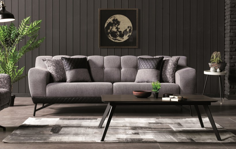 Canapea tapitata cu stofa si piele ecologica, 3 locuri, cu functie sleep pentru 1 persoana Miranda Gri K1, l230xA96xH82 cm