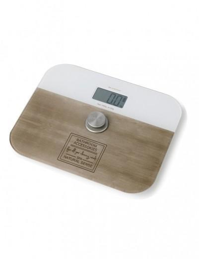 Cantar de baie digital fara baterii, 150 kg, Scales Alb / Maro