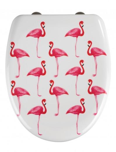 Capac toaleta din duroplast, Flamingo Alb / Roz, l38xA45 cm