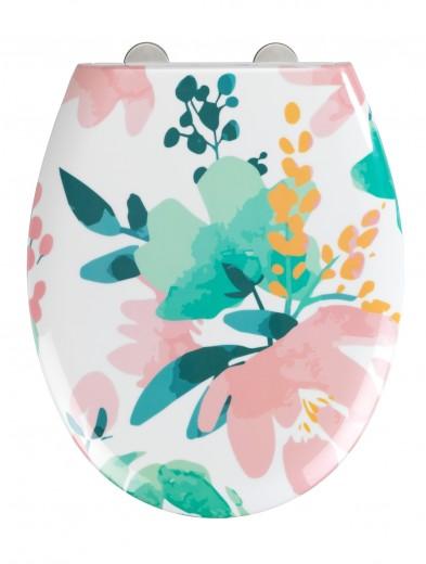 Capac toaleta din duroplast, Flowery Multicolor, l37xA44,5 cm