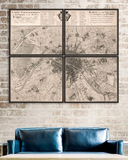Tablou 4 piese Framed Art Carte Topographique du Paris 1735