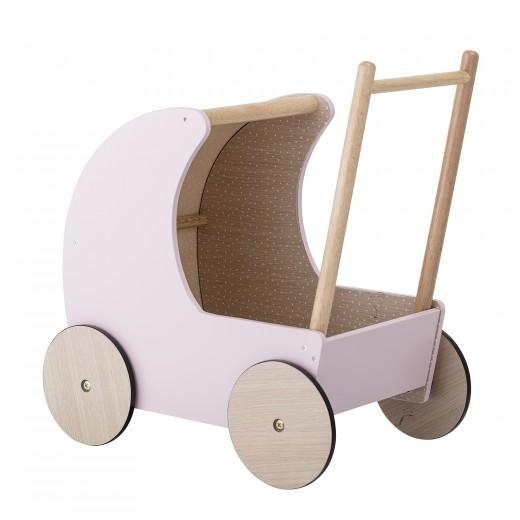 Carucior pentru copii Toy Pram din MDF, Rose, L50xl25xh40 cm