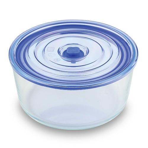 Caserola din sticla, capac cu inchidere ermetica Joy Round Small Albastru, 1,65 L
