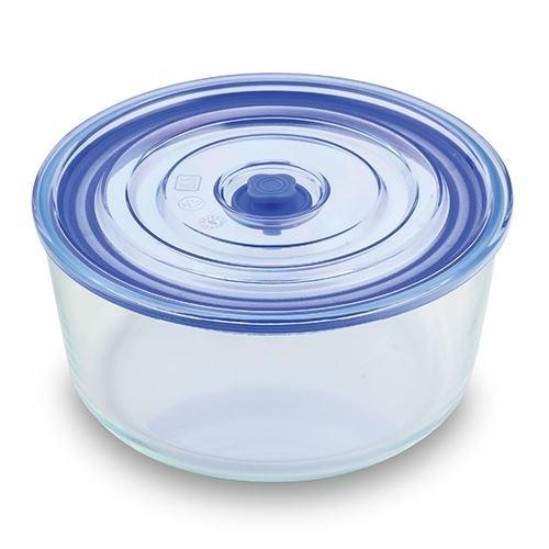 Caserola din sticla, capac cu inchidere ermetica Joy Round Tall Albastru, 3,05 L