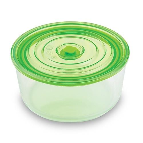 Caserola din sticla, capac cu inchidere ermetica Joy Round Tall Verde, 3,05 L