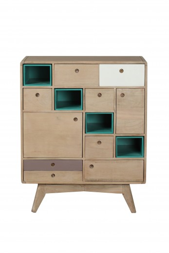 Cabinet din lemn, cu 7 sertare si 3 usi Play Light Natural, l79xA40xH97,5 cm