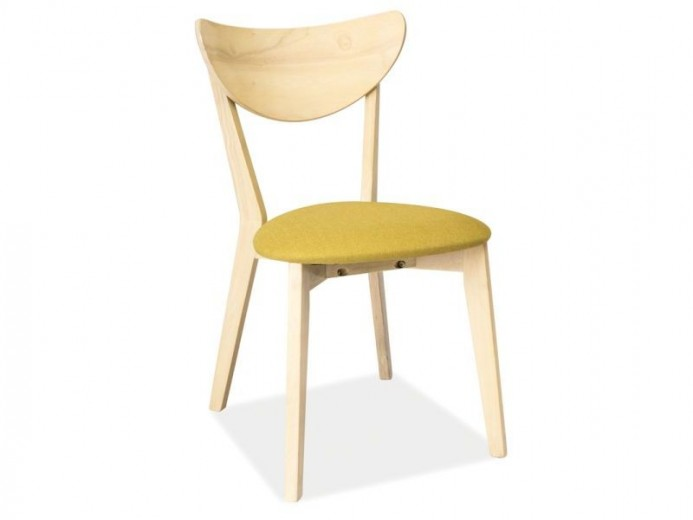 Scaun din lemn, cu sezut tapitat cu stofa CD-37 Yellow / Light Oak, l45xA43xH79 cm