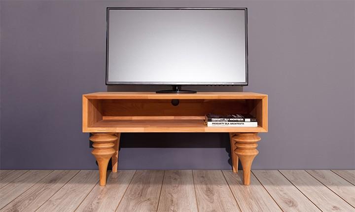 Comoda TV din lemn masiv de fag Parys RTV natural, l106xA45xH61 cm