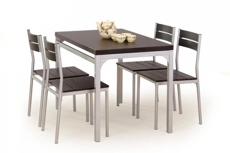 Set masa din MDF si metal + 4 scaune Malcolm Wenge, L110xl70xH75 cm