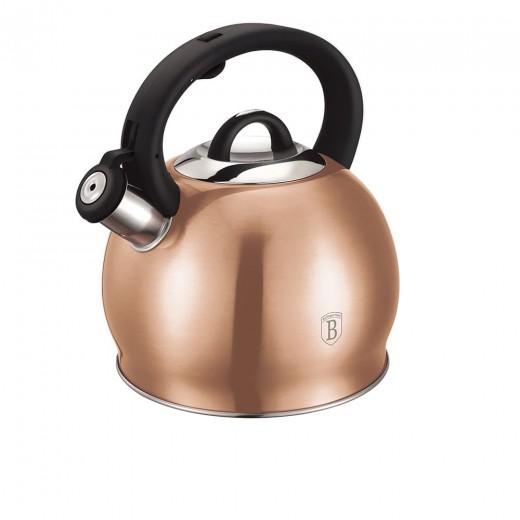 Ceainic din otel inoxidabil cu fluier, 3L, Metallic Line Rose Gold