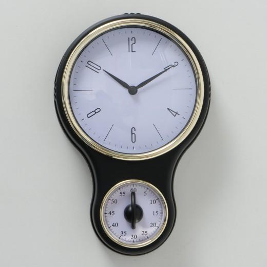 Ceas de perete Bolsa Alb / Negru, L19xl30 cm