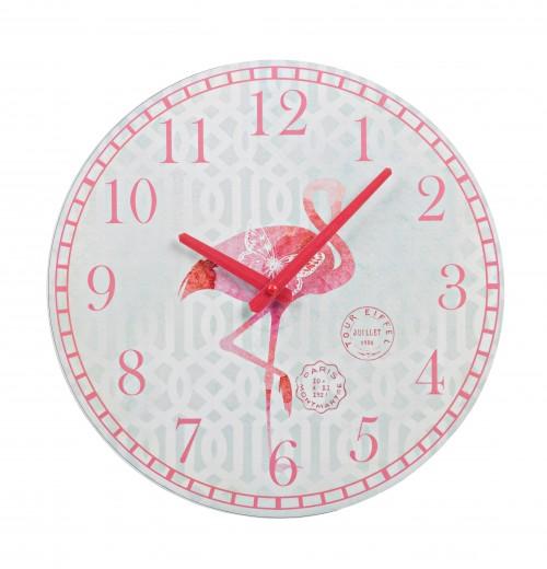 Ceas de perete Flamingo Alb / Rosu, Ø30 cm
