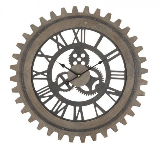 Ceas de perete Gear Dark Natural, Ø60 cm