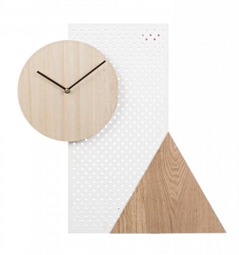 Ceas de perete Geometry Natural / Alb, Ø50 cm