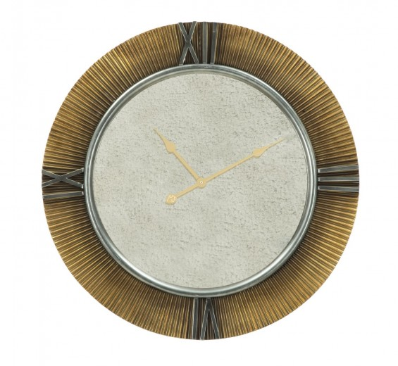 Ceas de perete Glam Mirror Auriu / Gri, Ø78 cm