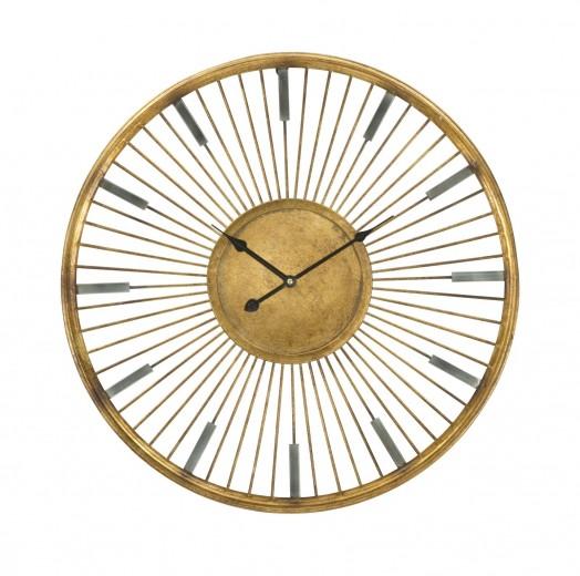 Ceas de perete Glam Stick Gold, Ø60xH6,5 cm