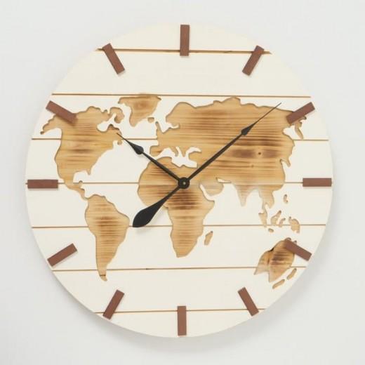 Ceas de perete Global Natural / Alb, Ø74 cm