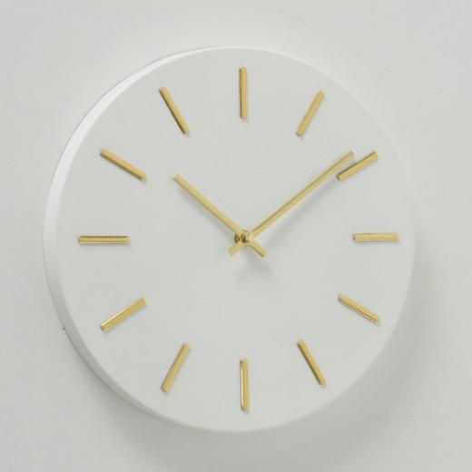 Ceas de perete Mareike Alb / Auriu, Ø30 cm