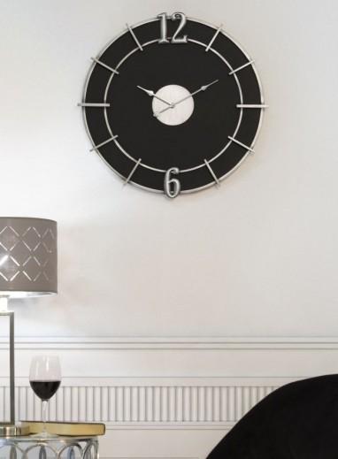 Ceas de perete Silver Glam Negru, Ø60 cm
