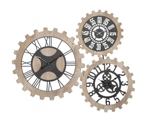 Ceas de perete Three Gears Natural / Negru, 93 x 74 cm