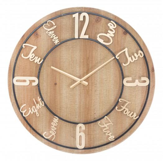 Ceas de perete Wood Natural, Ø60 cm