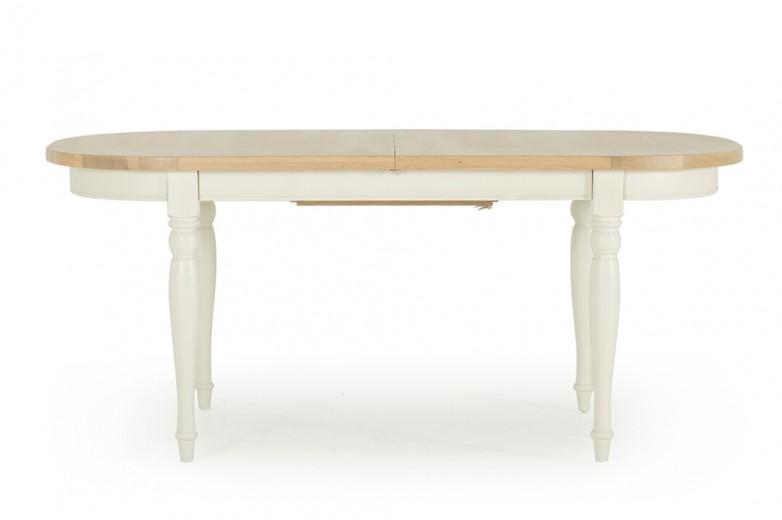 Masa din lemn de stejar Chalk, L180-230xl100xh77 cm