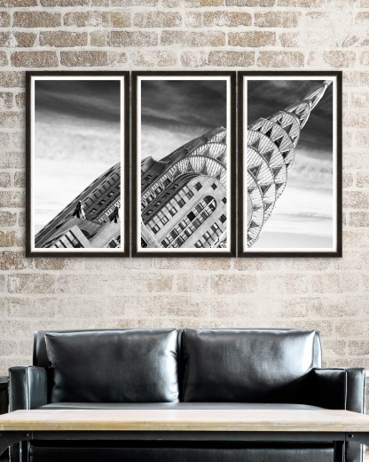 Tablou 3 piese Framed Art Chrysler Building Detail Triptych