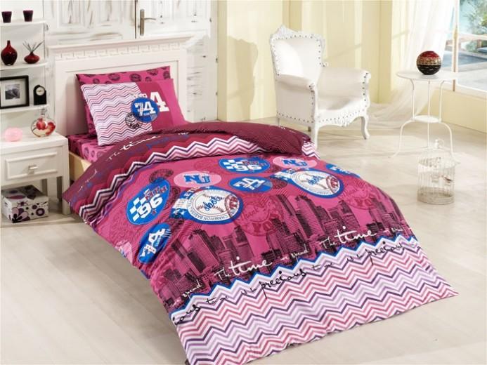 Lenjerie de pat copii Ranforce City V3 Pink- 200 x 160 cm