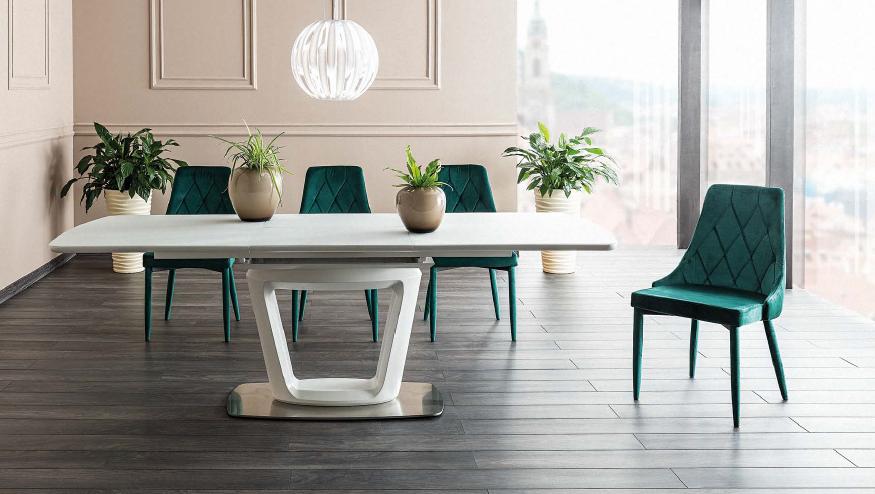 Set masa extensibila din sticla si MDF Claudio II White + 4 scaune tapitate Trix Velvet Green, L160-220xl90xH76 cm
