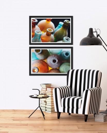 Tablou 2 piese Framed Art Colorful Bottles I & II