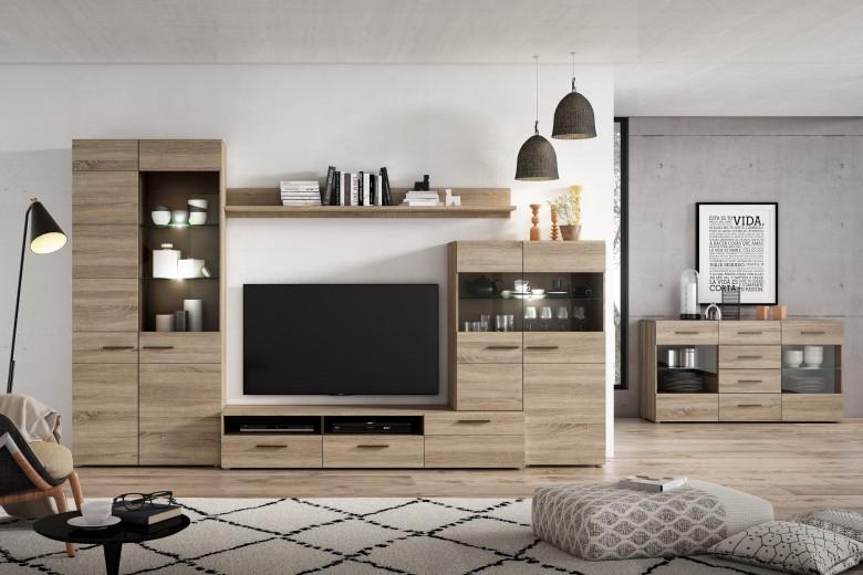 Set de mobila living din pal, 5 piese Combo Large Sonoma Oak