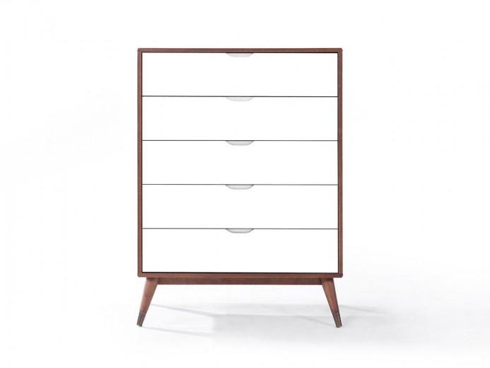 Comoda cu 5 sertare din lemn masiv si MDF Gisela Walnut/White, l90xA45xH124 cm