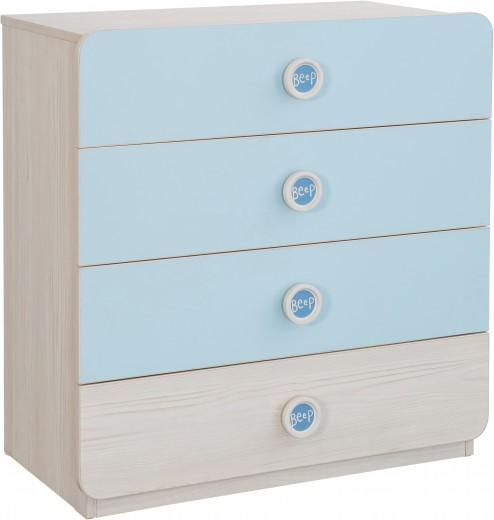 Comoda din pal cu 4 sertare, pentru bebe Baby Boy Light Blue / Nature, l77xA41xH80 cm