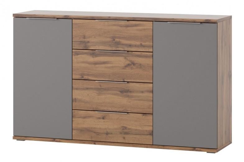 Comoda cu 4 sertare si 2 usi Livorno 45 Oak / Grey, l150xA38xH90 cm