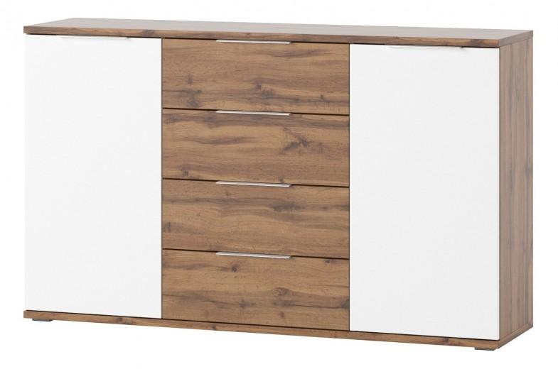 Comoda cu 4 sertare si 2 usi Livorno 45 Oak / White, l150xA38xH90 cm