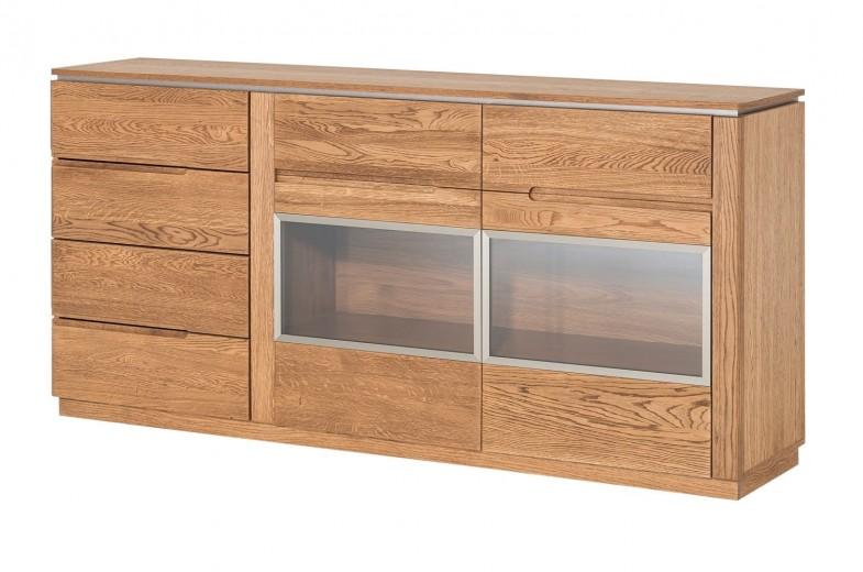 Comoda cu vitrina din lemn si furnir, 4 sertare si 2 usi Montenegro 47 Stejar Rustic, l180xA42xH87 cm