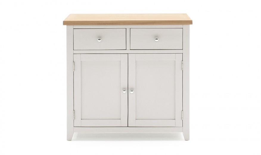 Comoda din lemn de pin si MDF, cu 2 sertare si 2 usi Ferndale Small Grey / Oak, l90xA37xH85 cm