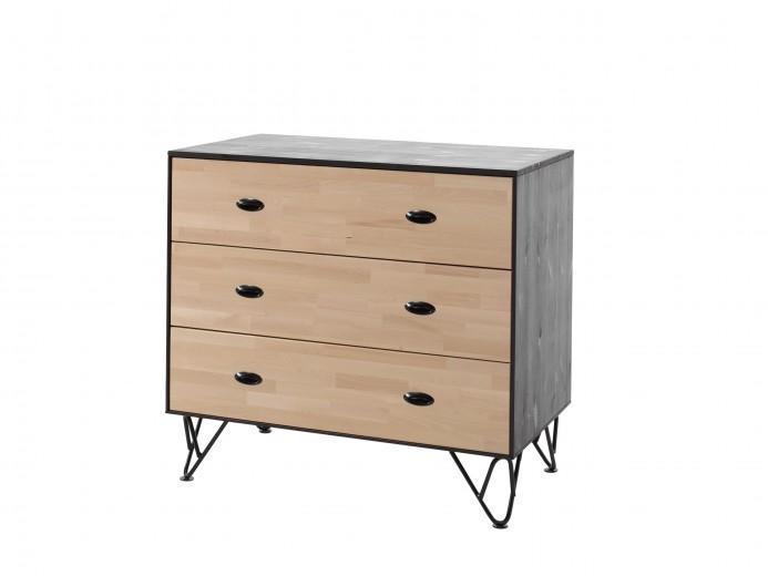 Comoda din lemn de pin si mesteacan cu 3 sertare, pentru copii si tineret William Natural / Negru, l100xA57xH90,5 cm